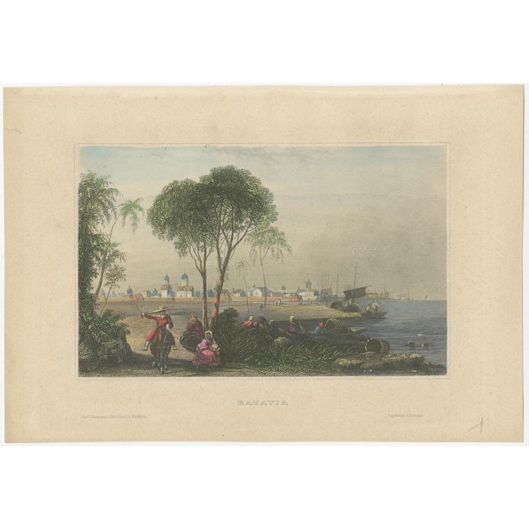 Antique Print of Batavia by Meyer (c.1840)