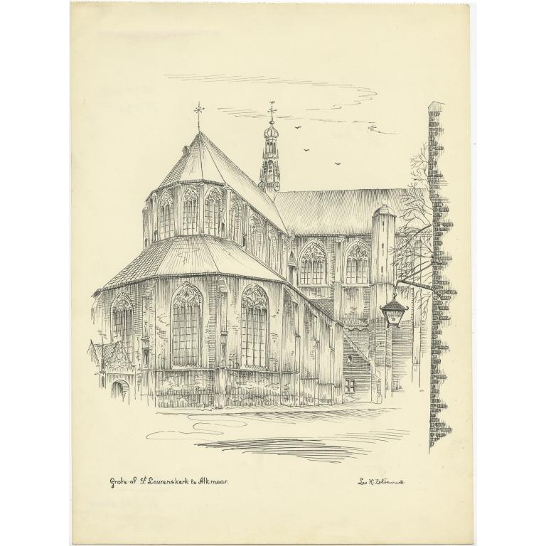 Vintage Pen Drawing of the Grote Sint-Laurenskerk of Alkmaar by Zeldenrust (c.1950)