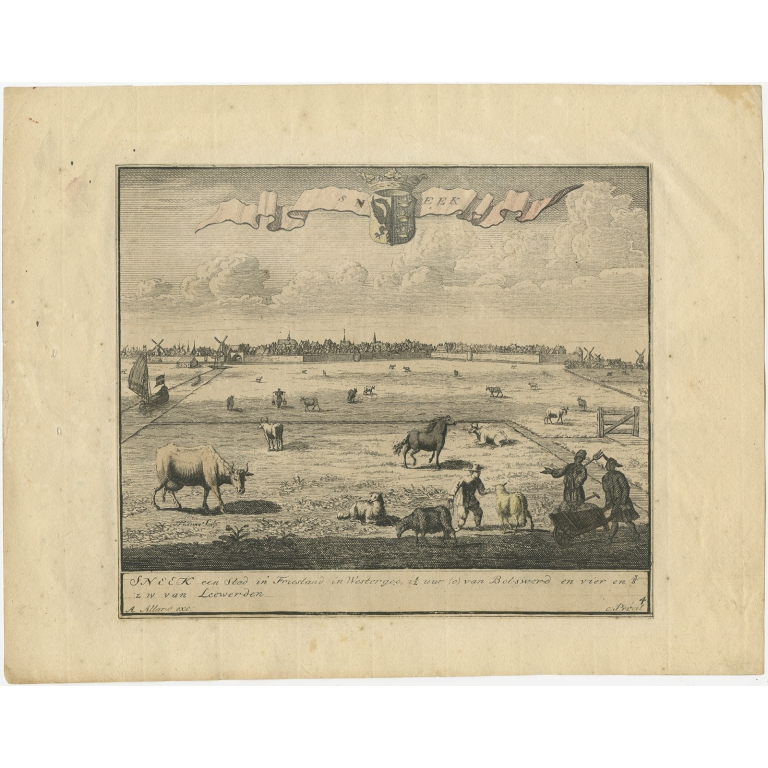 Antique Print of Sneek by Folkema (c.1718)