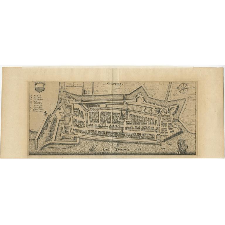 Antique Map of Stavoren by Merian (c.1650)