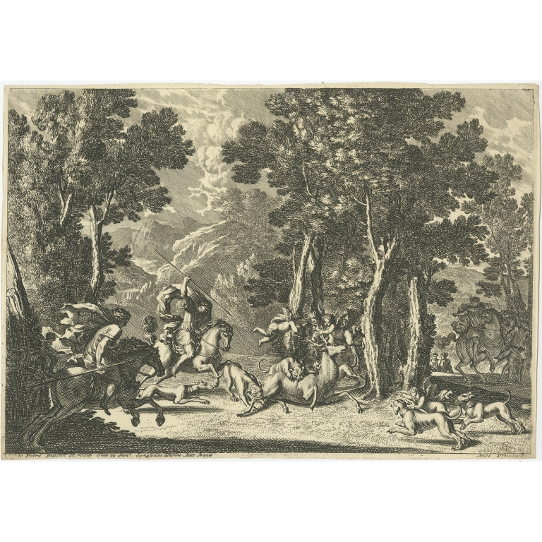Antique Print of Deer Hunting by le Pautre (c.1680)