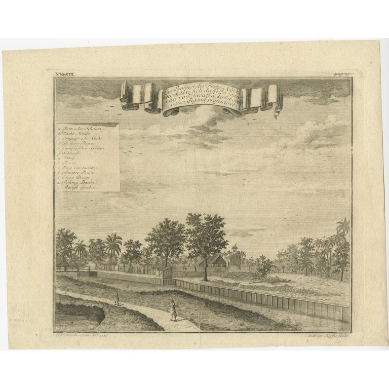 Antique Print of Fort Noordwijk in Batavia by Heydt (1739)
