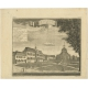 Antique Print of the Town Hall and Church of Batavia by Heydt (c.1740)