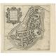 Antique Map of Bolsward by Braun & Hogenberg (c.1598)