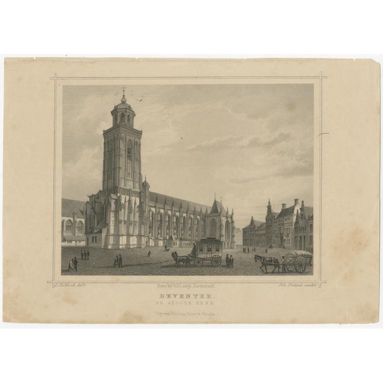 Antique Print of Deventer by Terwen (1863)