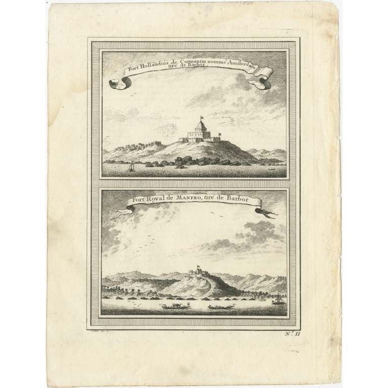 Antique Print of Fortresses at Cormantin and Princes Town by Chedel (1746)