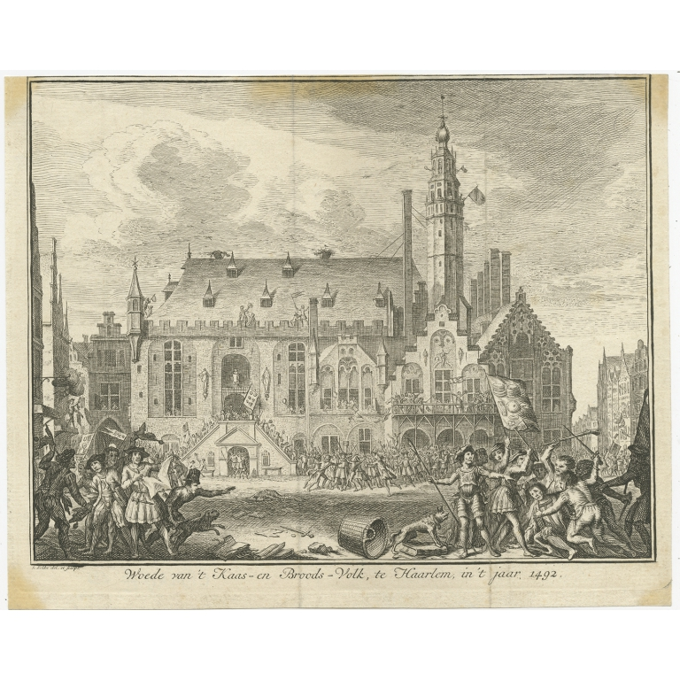 Antique Print of the Rebellion of Haarlem in 1492 by Fokke (c.1750)
