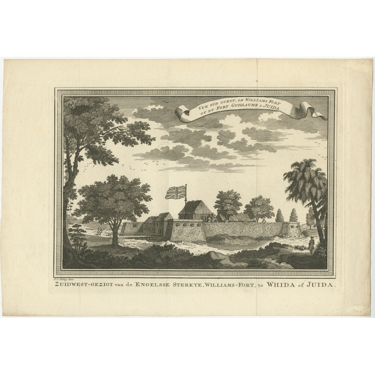 Antique Print of Fortresses in Ouidah by Van der Schley (1748)