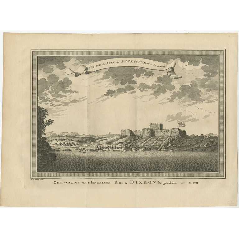 Antique Print of the English Fort at Dixcove by Van der Schley (1748)