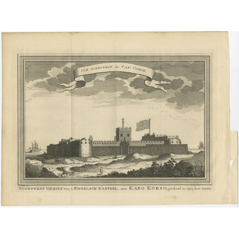 Antique Print of the English Castle at Cape Coast by Van der Schley (1748)