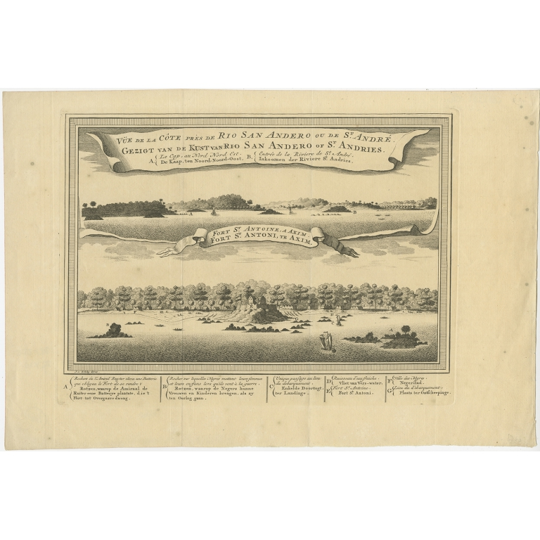 Antique Print of a Fort on the Ivory Coast and Axim by Van der Schley (1748)