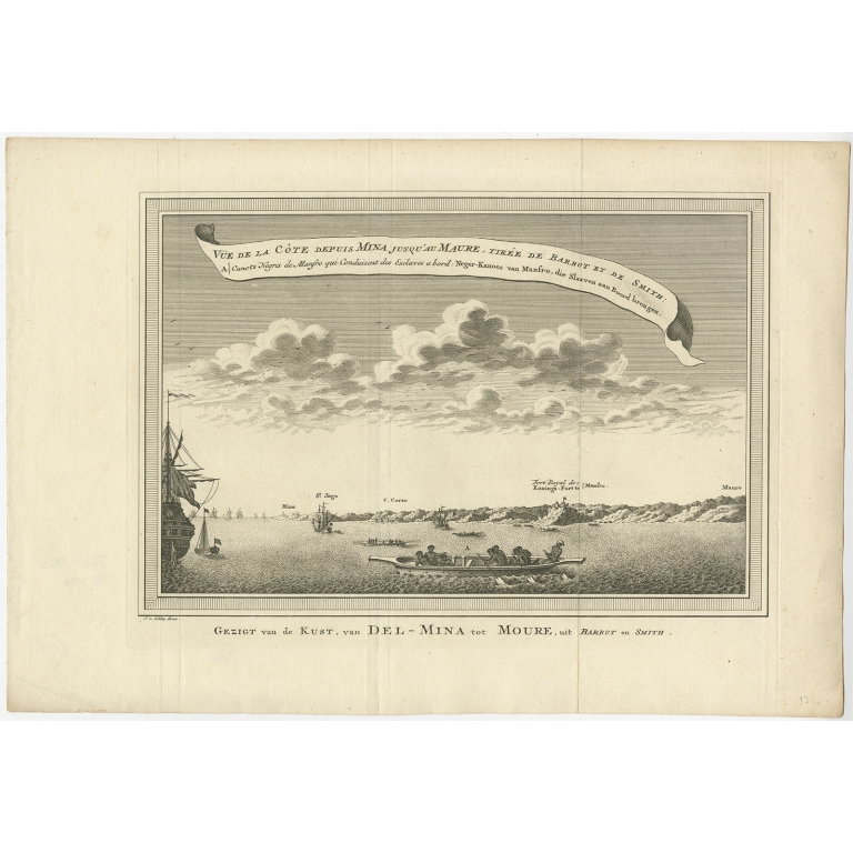 Antique Print of the Coast from Elmina to Moree by Van der Schley (1748)