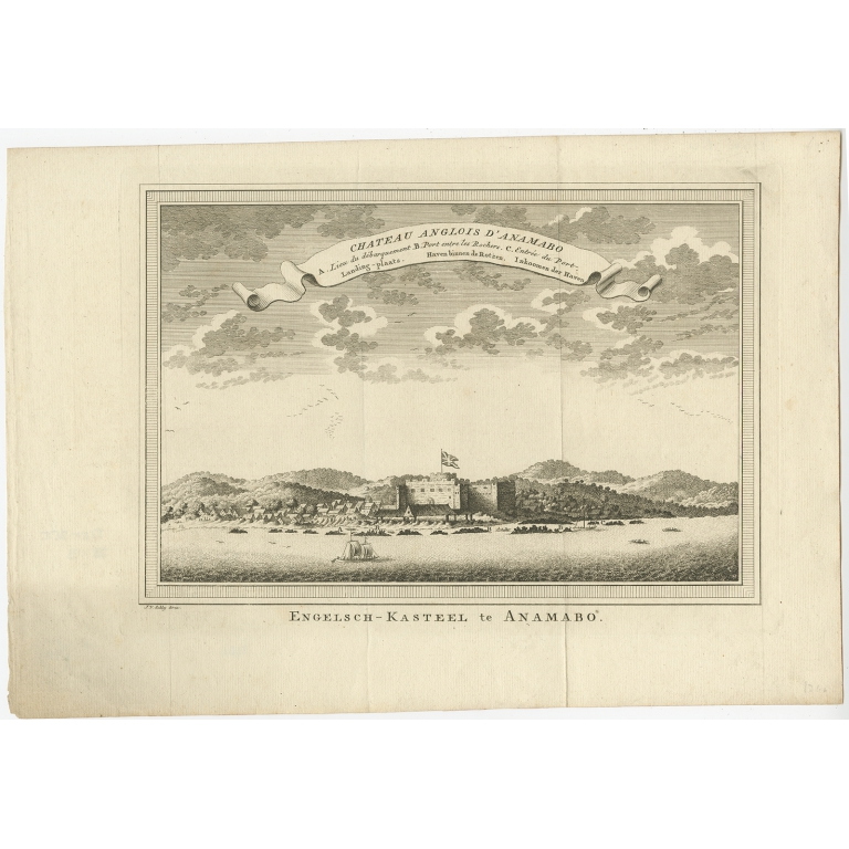 Antique Print of the Fort at Anomabu by Van der Schley (1748)