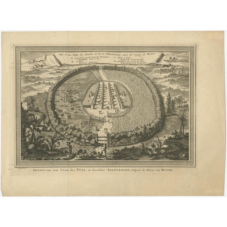 Antique Print of a Fula Cotton Plantation by Van der Schley (1748)