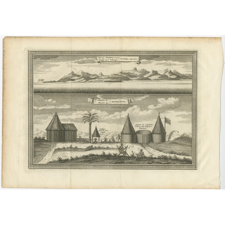 Antique Print of the Mountains and a Village on Sierra Leone by Van der Schley (1748)
