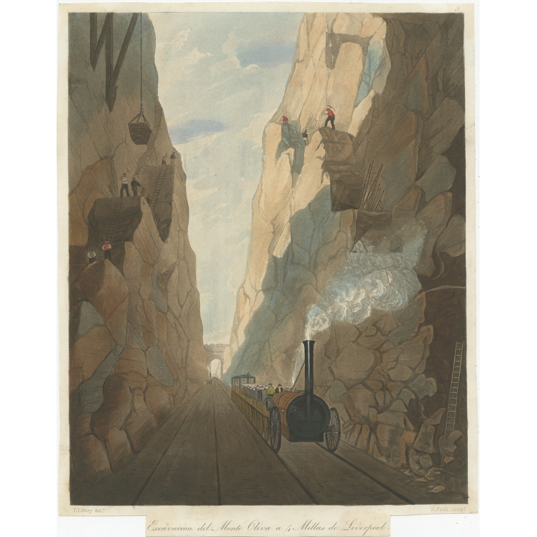 Antique Print of the Olive Mount cutting by Bury (c.1832)