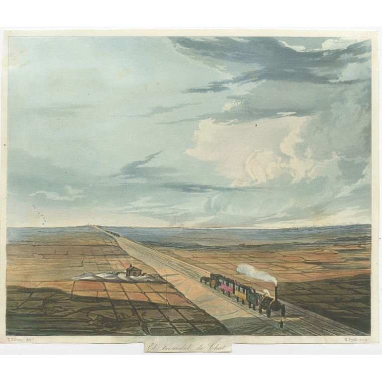 Antique Print of the Railway accross Chat Moss by Bury (c.1832)