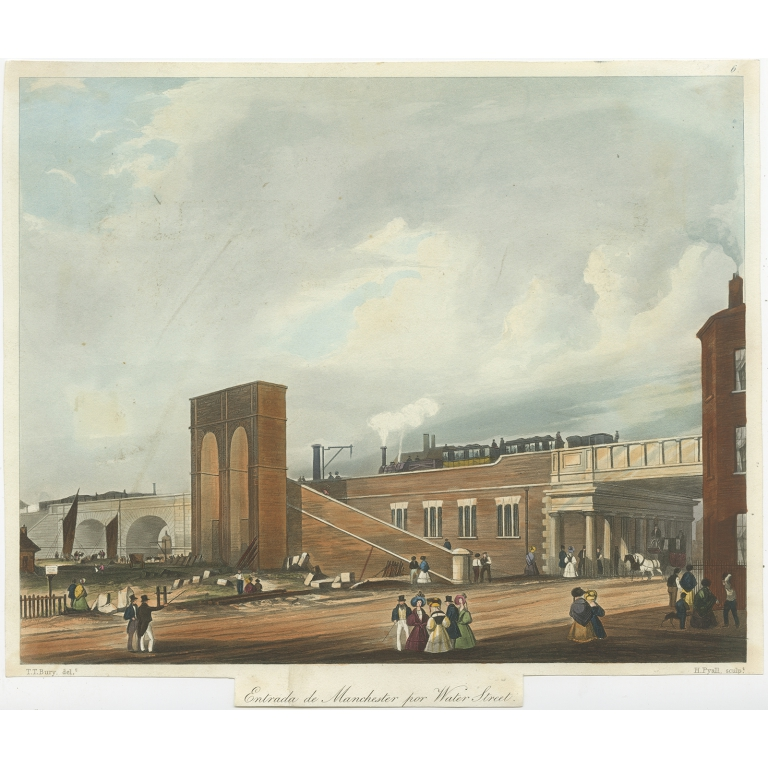 Antique Print of the entrance into Manchester by Bury (c.1832)