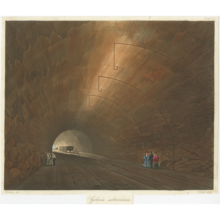 Antique Print of the Railway Tunnel near Liverpool by Bury (c.1832)