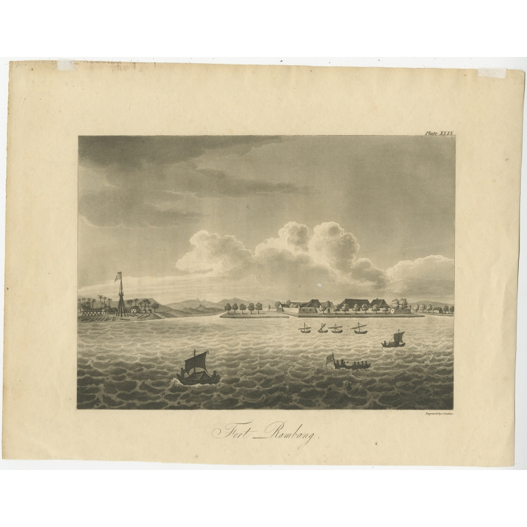Antique Print of Fort Rambang by Thorn (1815)