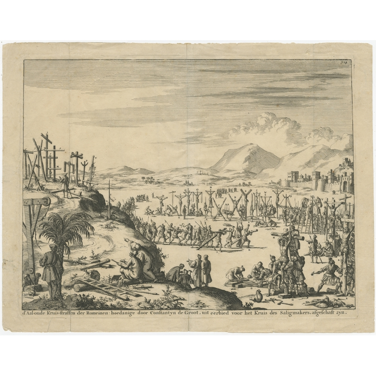 Antique Print of Crucifixion outside the City Wall by Goeree (1690)