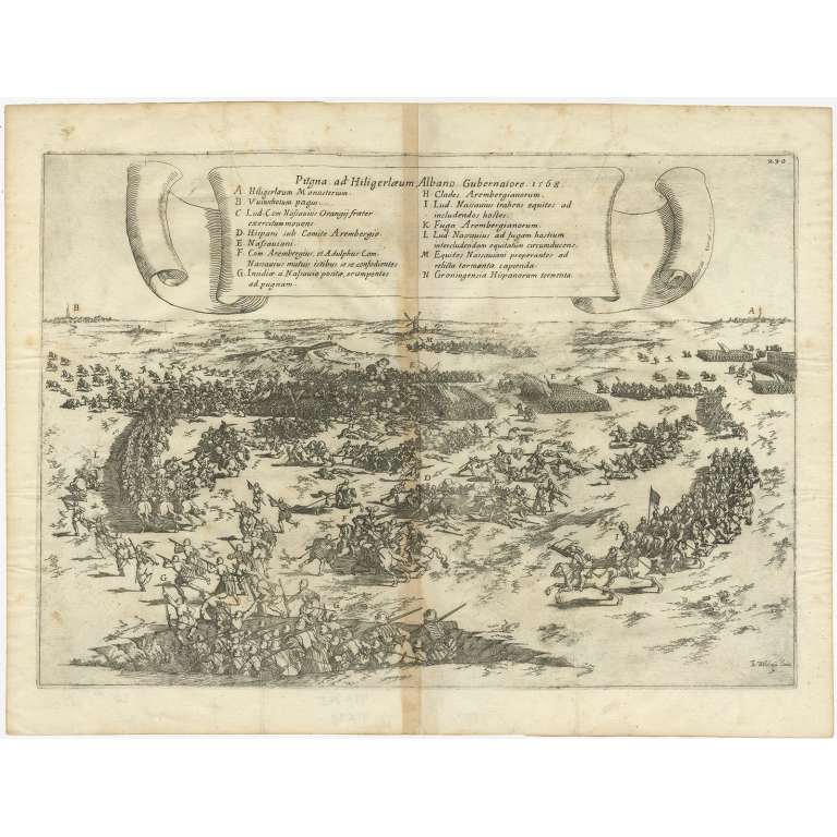 Antique Print of the Battle of Heiligerlee by Strada (1632)