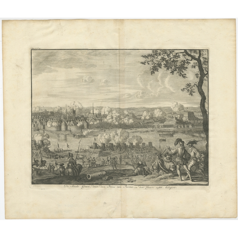 Antique print of the Siege of Grave by Le Clerc (1730)