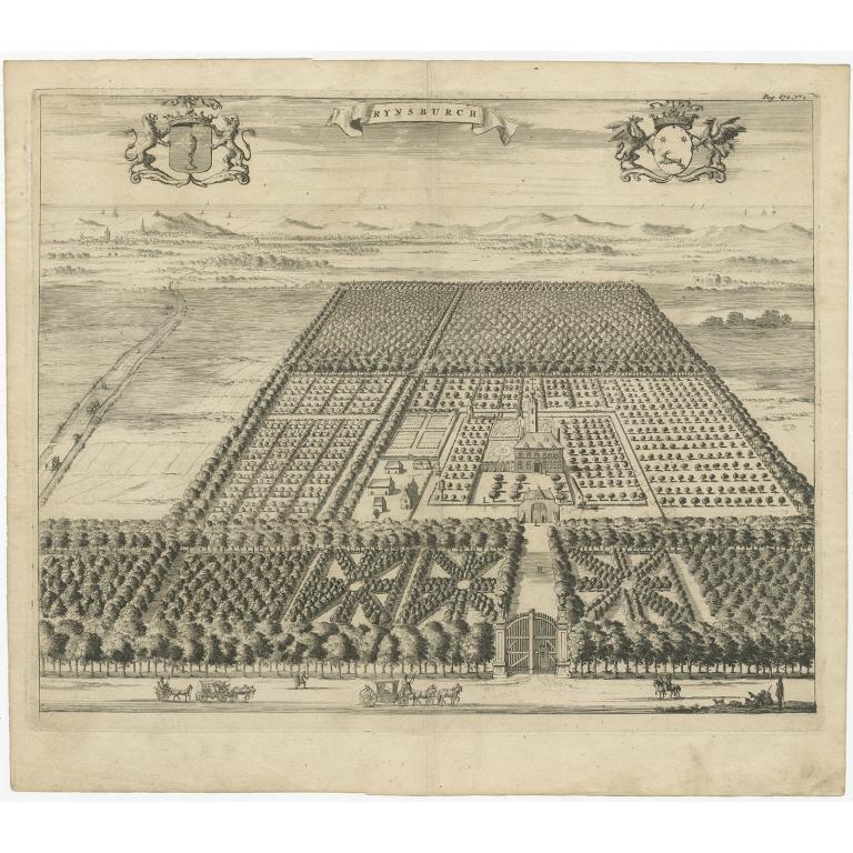 Antique Print of the Rijnsburg Estate by Smallegange (1696)