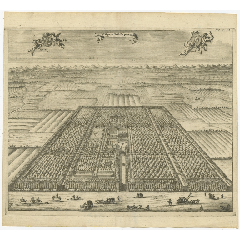 Antique Print of the Poppendam Estate by Smallegange (1696)