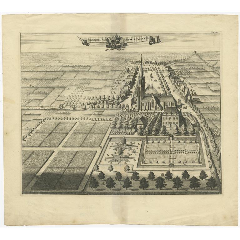Antique Print of the Heerlijkheid Nisse Estate by Smallegange (1696)