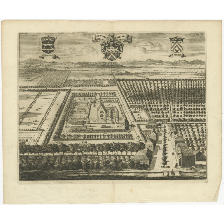 Antique Print of the Popkensburg Estate by Smallegange (1696)