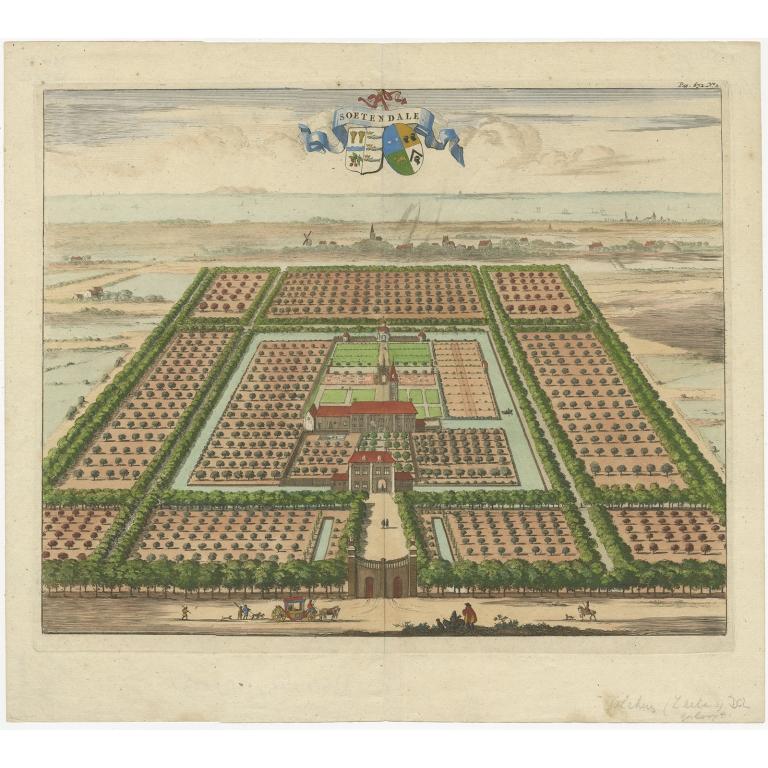 Antique Print of the Soetendale Estate by Smallegange (1696)
