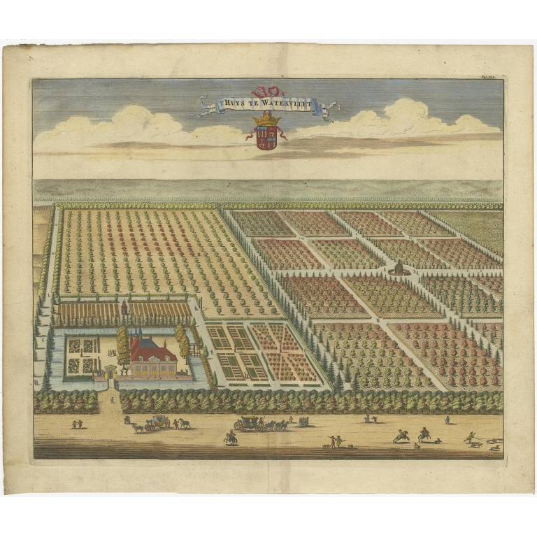 Antique Print of the Watervliet Estate by Smallegange (1696)