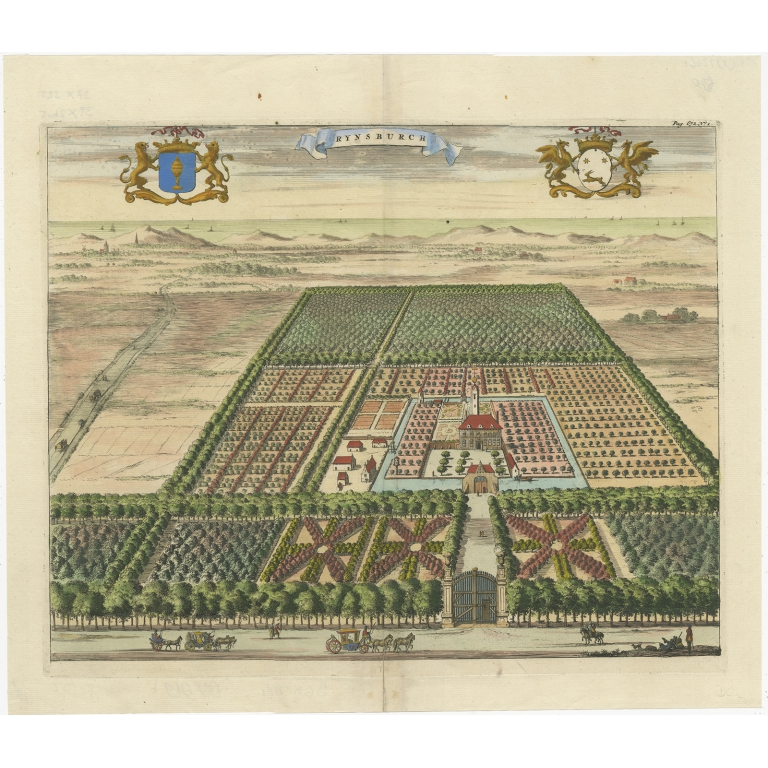 Antique Print of the Rijnsburg Estate by Smallegange (1696)