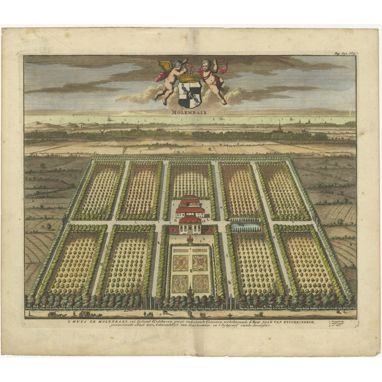 Antique Print of the Molembaix Estate by Smallegange (1696)