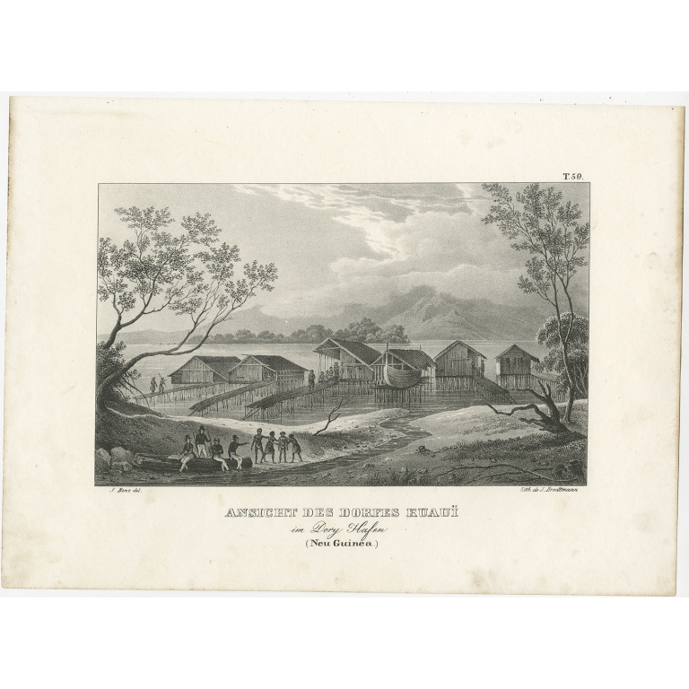 Antique Print of a Village and Harbour of New Guinea by Brodtmann (c.1836)