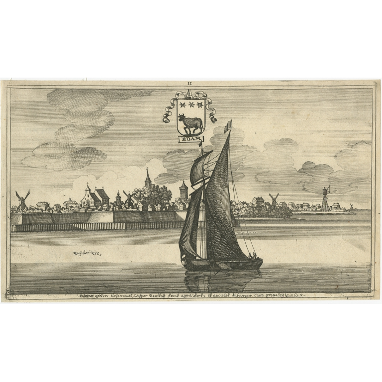 Antique Print of the City of Edam by Bouttats (1680)