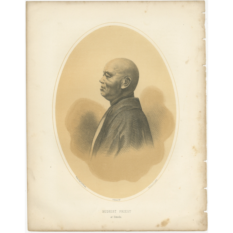Antique Print of a Buddhist Priest of Shimoda by Hawks (1856)