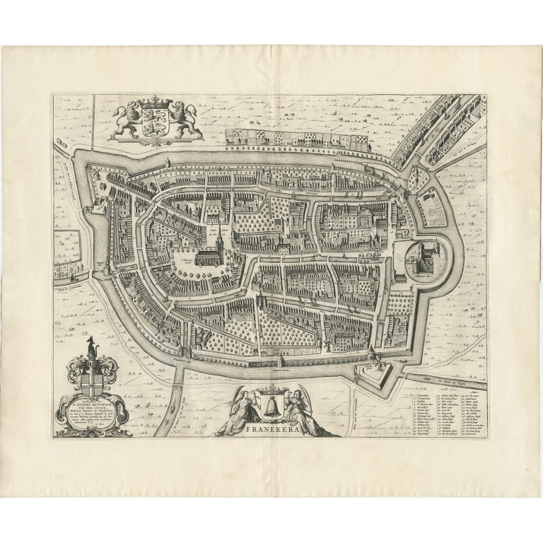 Antique Map of the City of Franeker by Blaeu (1652)