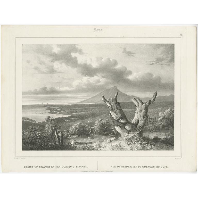 Antique Print of Besuki and Gunung Ringgit by Van de Velde (1845)