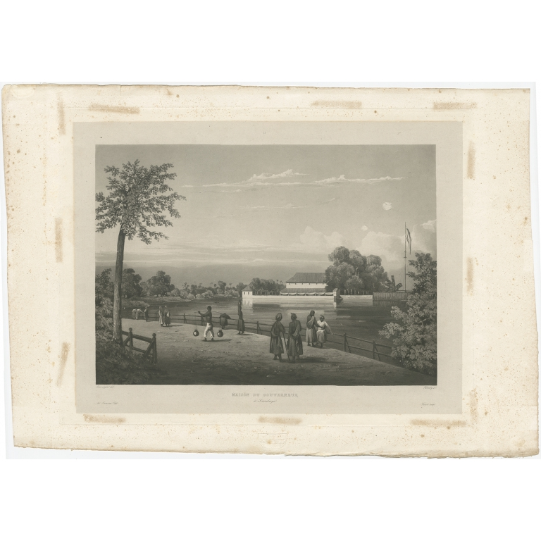 Antique Print of the Governor's House in Surabaya by Himely (1835)