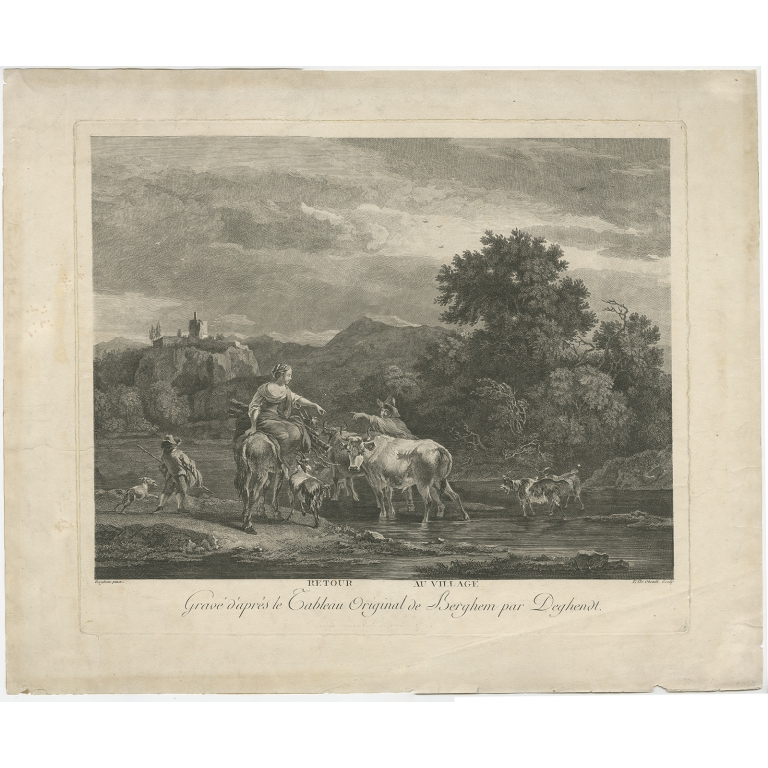 Antique Print of Shepherds returning to the Village by De Ghendt (c.1770)