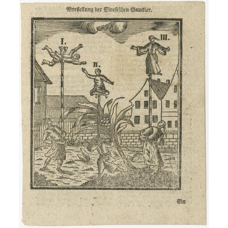 Antique Print of Acrobats (c.1788)