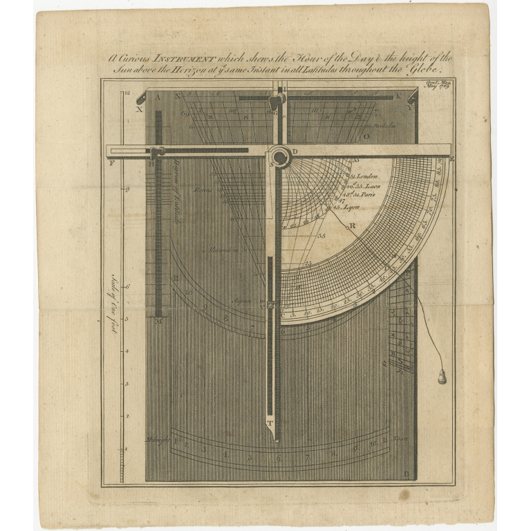Antique Print of a Scientific Instrument (1769)