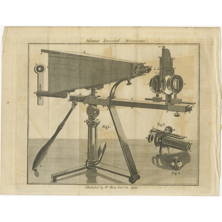 Antique Print of a Lucernal Microscope (1788)