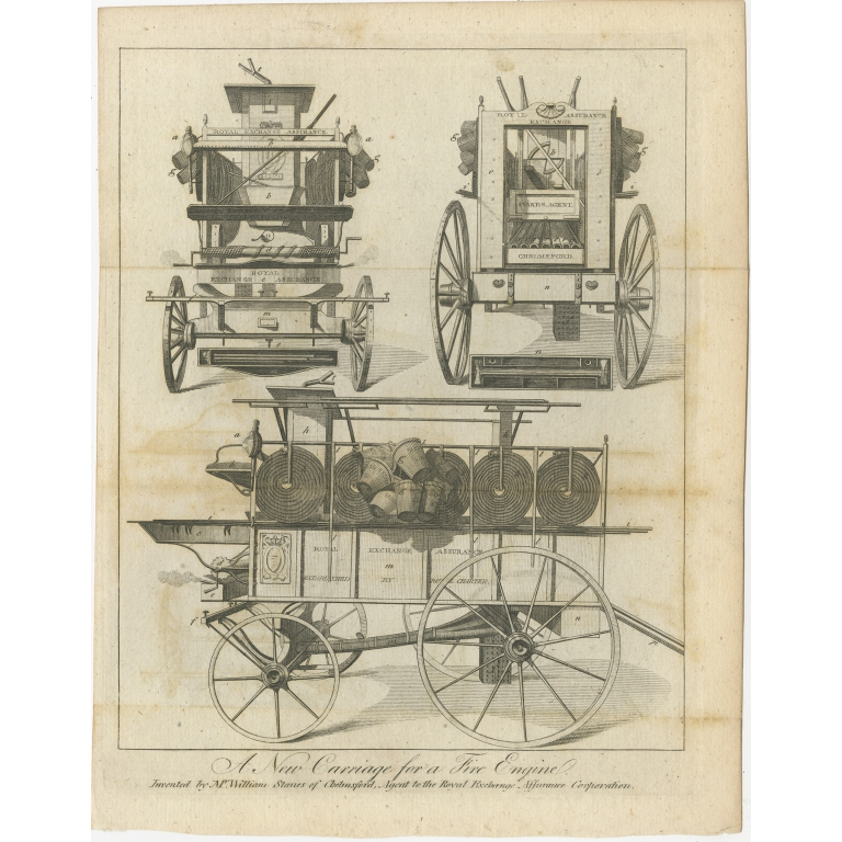 Antique Print of a New Carriage for a Fire Engine (1791)