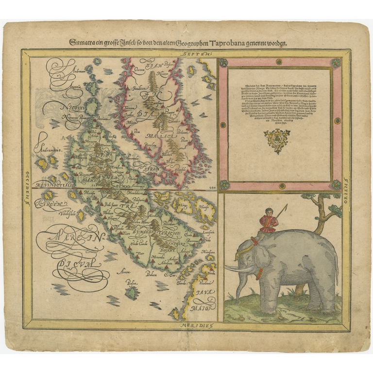 Antique Map of Sumatra by Münster (c.1588)