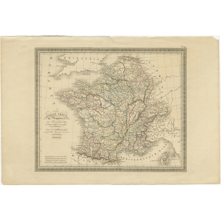 Antique Map of France by Vivien de Saint-Martin (1824)