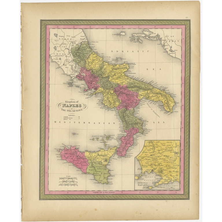 Antique Map of the Kingdom of Naples by Mitchell (1846)