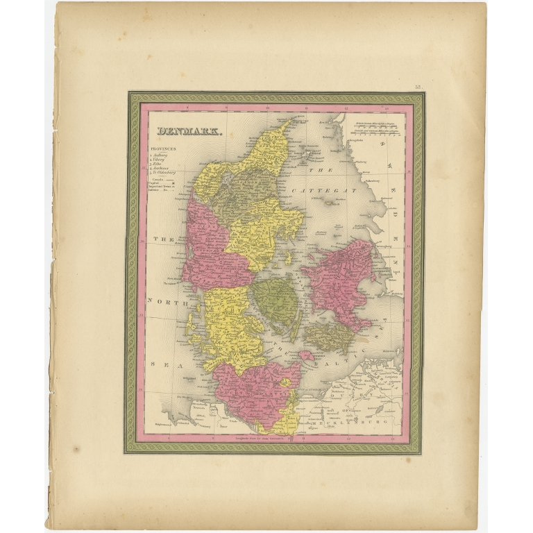 Antique Map of Denmark by Mitchell (1846)